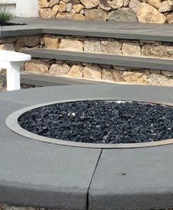 black fire glass in pit