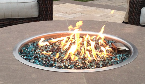 fire glass rocks lit