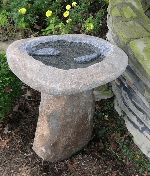 Unique Bird Bath - Natural Stone with Two Fish