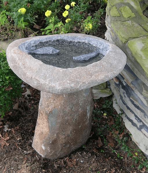 Unique Bird Bath - Natural Stone with Two Fish