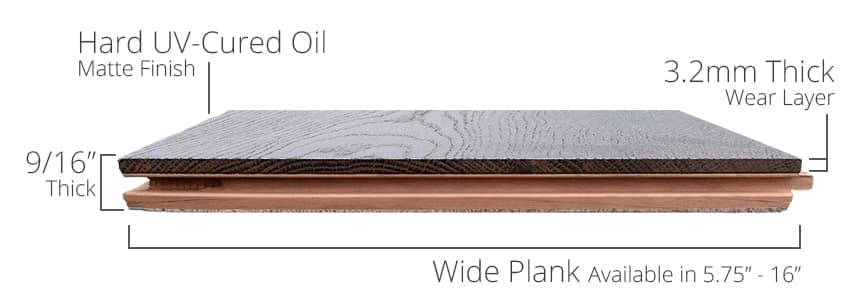 "Sideview of Structured 9/16"" Thick, 3.2mm Wear Layer"