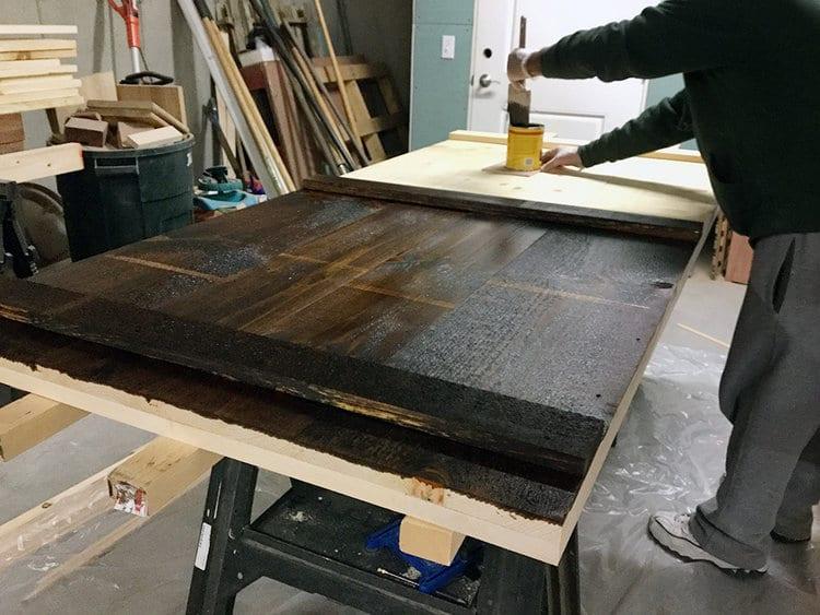 DIY Barn Door - Applying the Stain