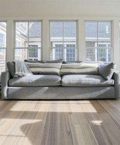 grey wide wood plank flooring sunroom