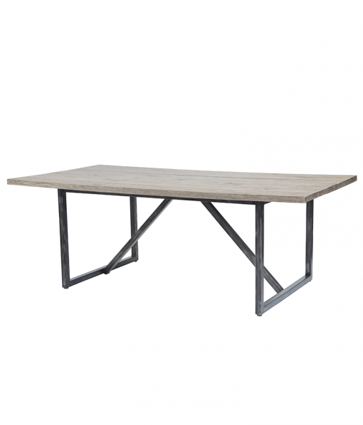 """82"""" Outdoor Dining Table with Amalfi Carbon Base and Roma Ash Top"""