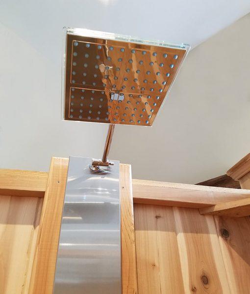 Overhead Shower Head on Shower Panel