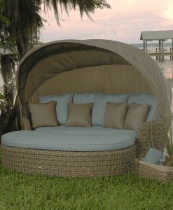 Dreux Outdoor Daybed with Ottoman and Canopy