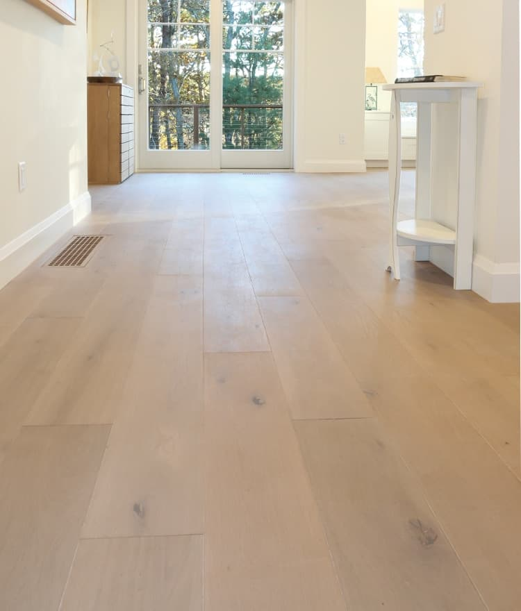 Light Gray Color Is Washed Over Each Plank Of This European French Oak Wide Wood Flooring Creating A Gorgeous Hue By Our Master Artisans