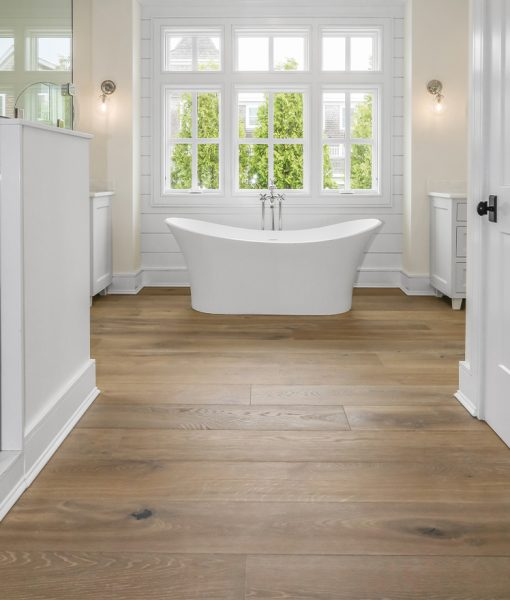 Structured Wide Plank Floors - Miacomet installed in bathroom with modern bathtub