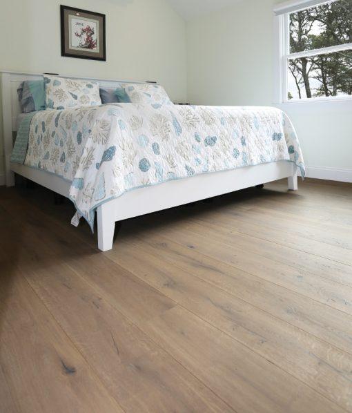 Prefinished hardwood wide plank flooring master bedroom