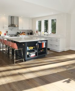 Prefinished hardwood wide plank flooring kitchen
