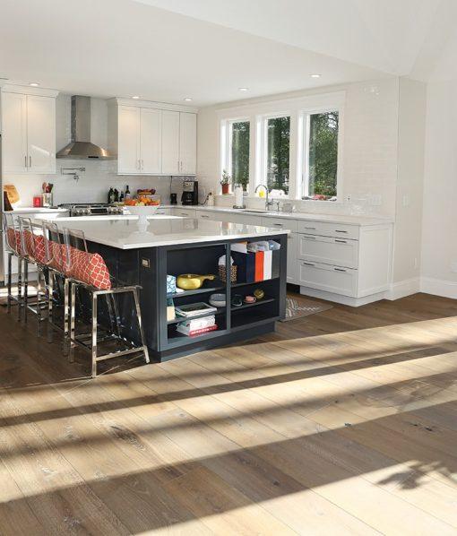 Prefinished hardwood wide plank flooring kitchen