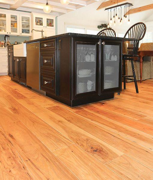 Wide wood plank flooring hickory pecan