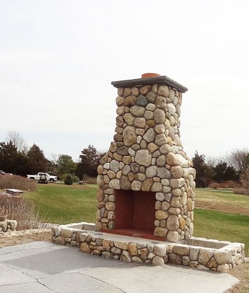 Colonial Tan Rounds Stone Veneer Fireplace