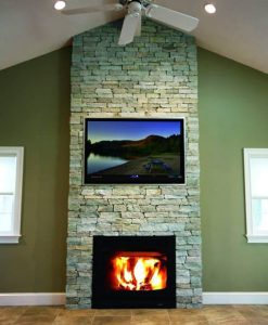 Fireplace Stone Veneer with Newport Mist Ledgestone