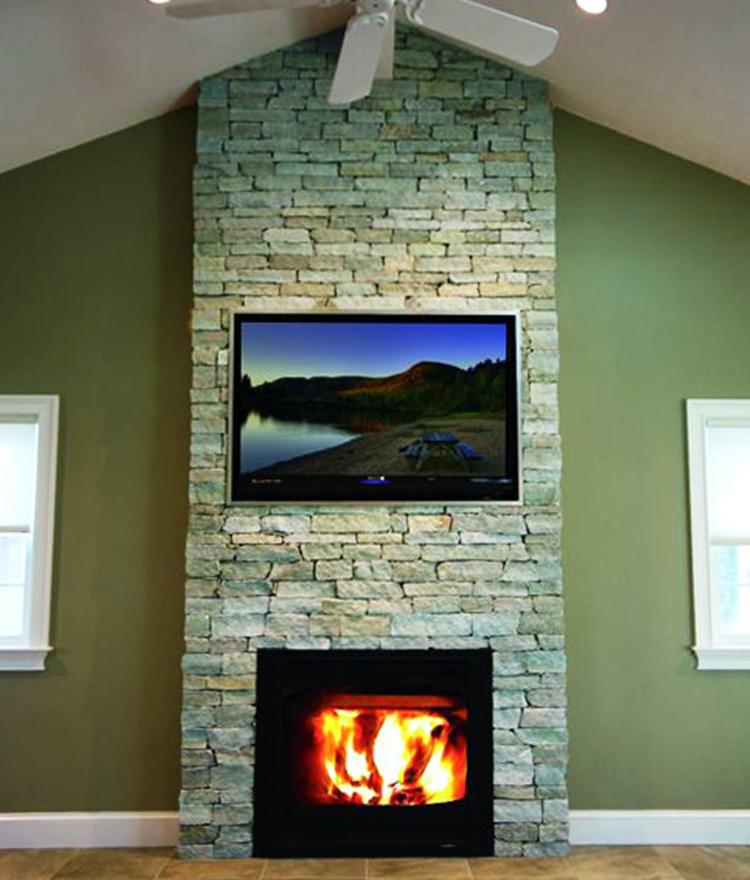 Fireplace Stone Veneer with Newport Mist Ledgestone