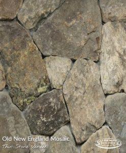 Old New England Mosaic Veneer Stone Fireplace