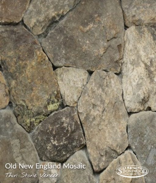 Old New England Mosaic Veneer Stone Fireplace