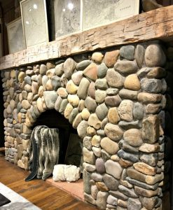 River Rounds Real Stone Veneer Fireplace
