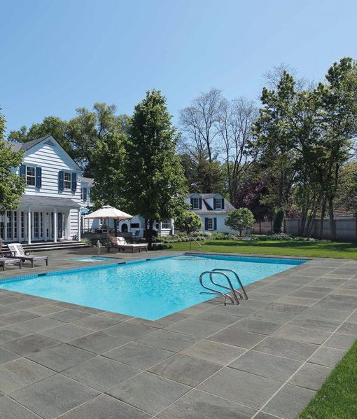 Thermal Blue Bluestone Porcelain Pavers - Pool Deck Installation