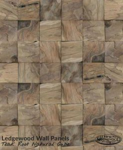 Ledgewood Teak Root Natural Cube Wall Panels