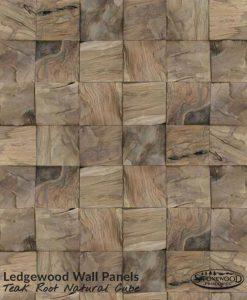 Ledgewood Teak Root Natural Cube Wall Panels