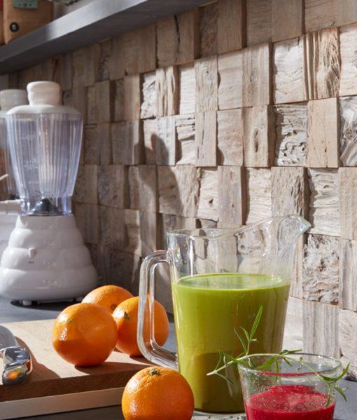 Textured wall planks on kitchen backsplash