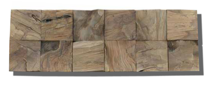 Diamondwood Cube Natural Teak Wood Wall Planks