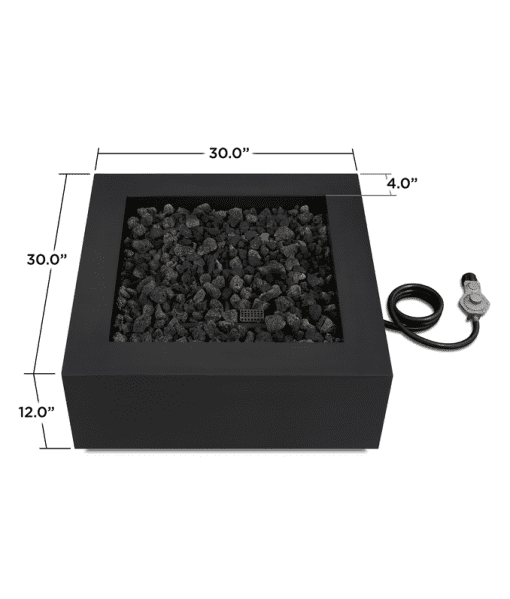 Byron Square Steel Gas Fire Pit Dimensions