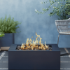 Byron Square Steel Gas Fire Pit on Patio
