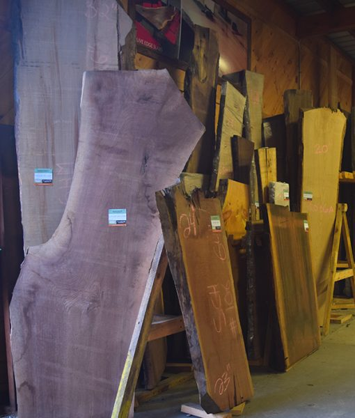 Live Edge Slabs in our Harwich Warehouse