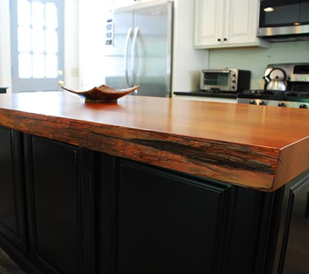 Live Edge Redwood Kitchen Island Slab
