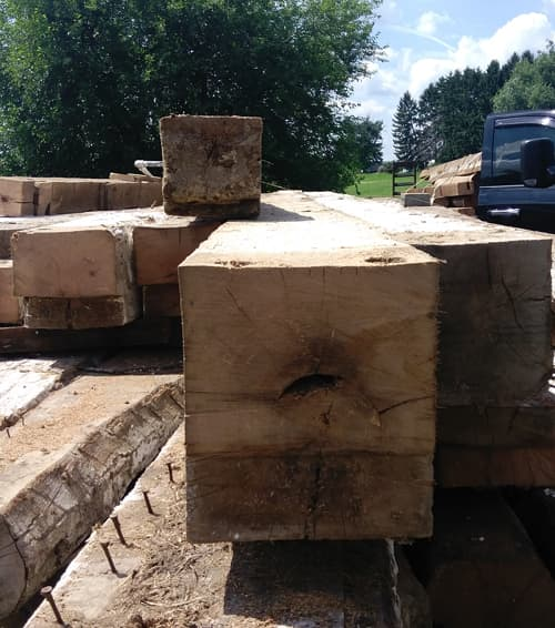 Reclaimed White Oak Log Ends from Deconstructed Barn