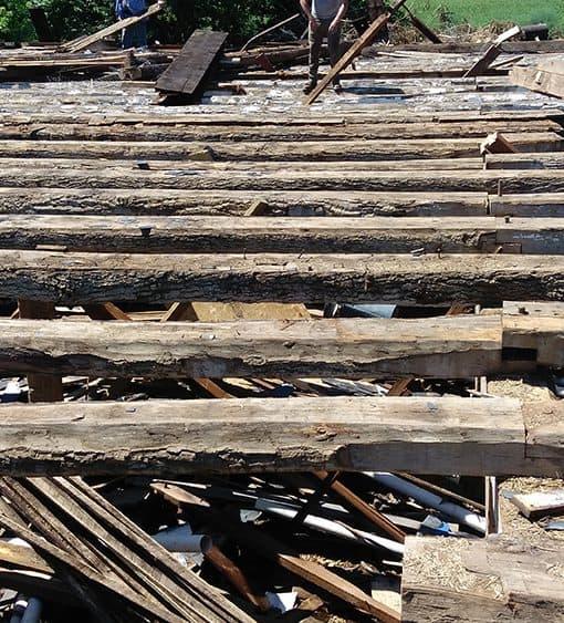Deconstructing Barn - Reclaimed White Oak Logs