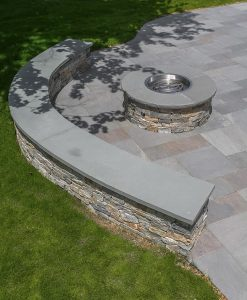 Everblue Full Color Pavers installed with Fire Pit