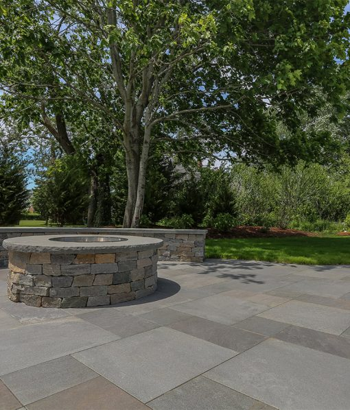 Everblue Thermal Blue pavers installed with Fire Pit