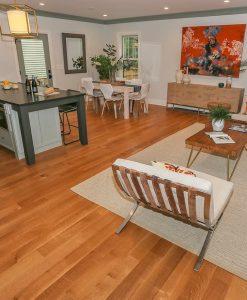 White Oak Hard Wood Flooring Open Concept Living Room