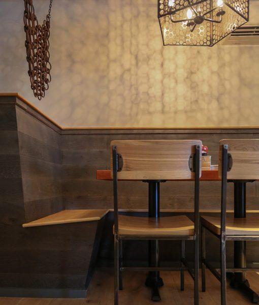 Nautical Design - Booth Seating made from Sawyer Mason Newbury Wide Plank Flooring