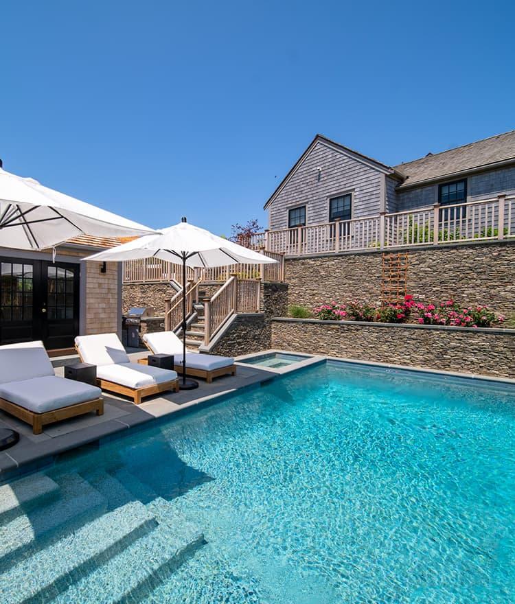 Exterior Pool and Stone Veneer