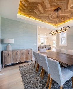 Sawyer Mason Structured Fogg Wide Plank Floors with Custom Herringbone Heavy Sawn Oak Ceiling