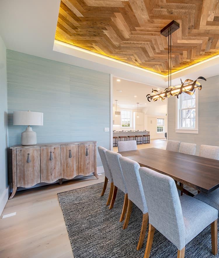 Sawyer Mason Structured Fogg Wide Plank Floors with Custom Herringbone Heavy Sawn Oak Ceiling