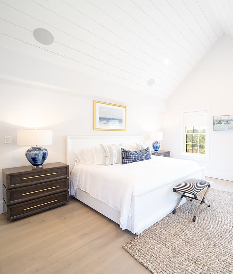 Sawyer Mason Structured Fogg Wide Plank Floors with Shiplap Ceiling in Bedroom