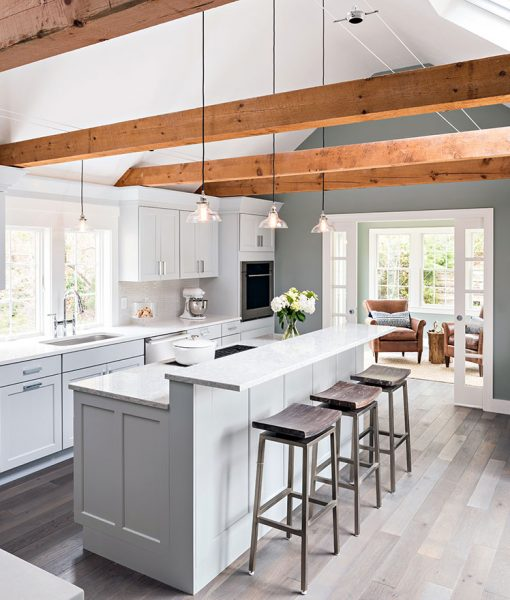 Contemporary Cottage with custom prefinished floors and reclaimed beams