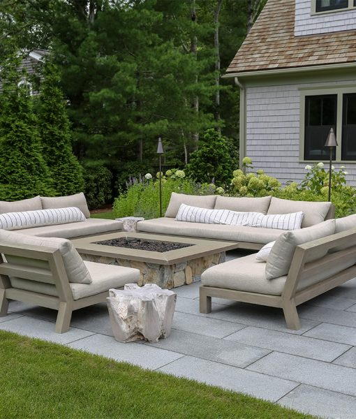 Outdoor Patio Ideas with Chatham Blue Granite Pavers, Fire Pit, Wallstone and Outdoor Kitchen