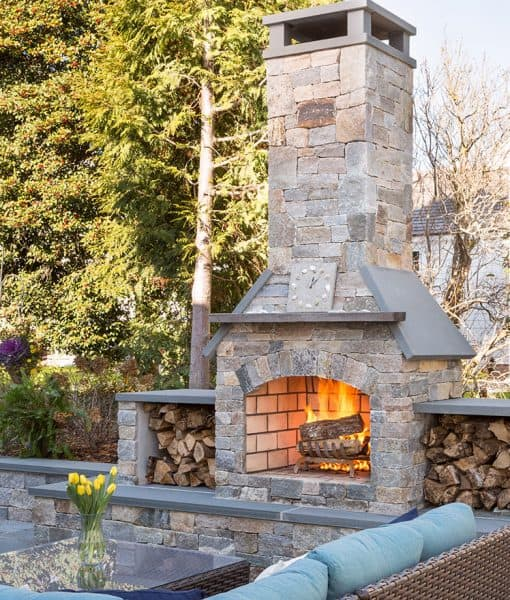 Outdoor Patio Fireplace with Ebel Outdoor Furniture