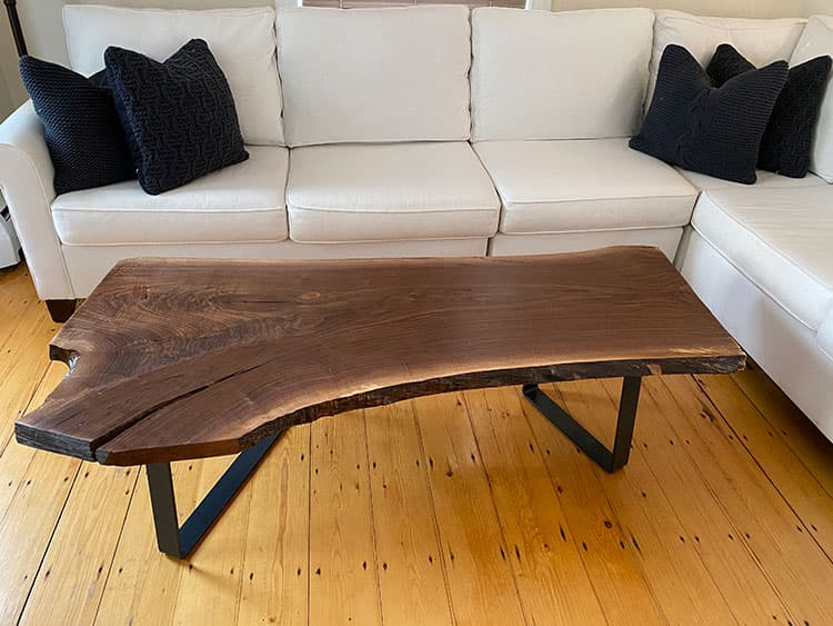 Live Edge Wood Slab Coffee Table Before After Stonewood Products