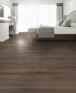 dark brown floor in a bedroom