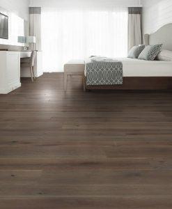 dark brown floor in a bedroom