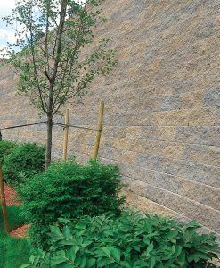 tan and gray large block retaining wall blend