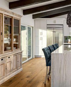 light brown rustic plank floor kitchen